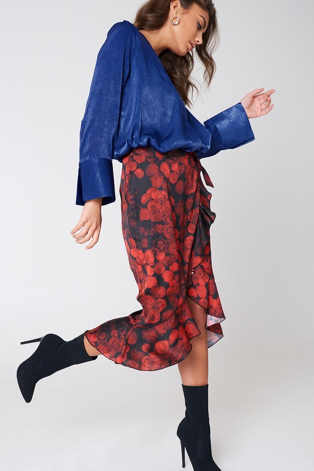 Blue Satin X Floral Skirt Outfit