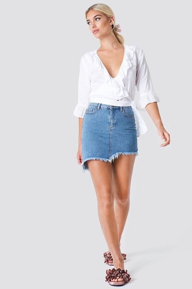 Wrap Blouse X Denim Skirt Outfit