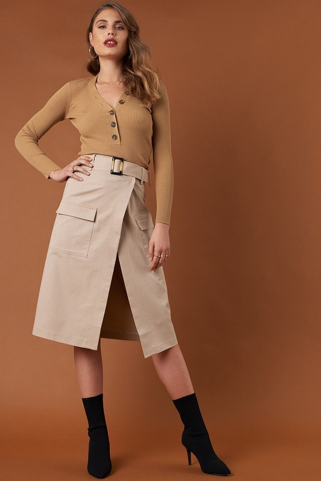 Ribbed Buttoned Sweater and Front Pocket Belted Skirt