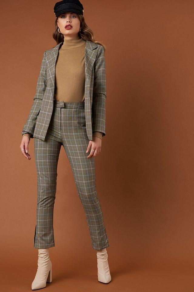 Wide Neck Belted Blazer and Slit Detail Suit Pants