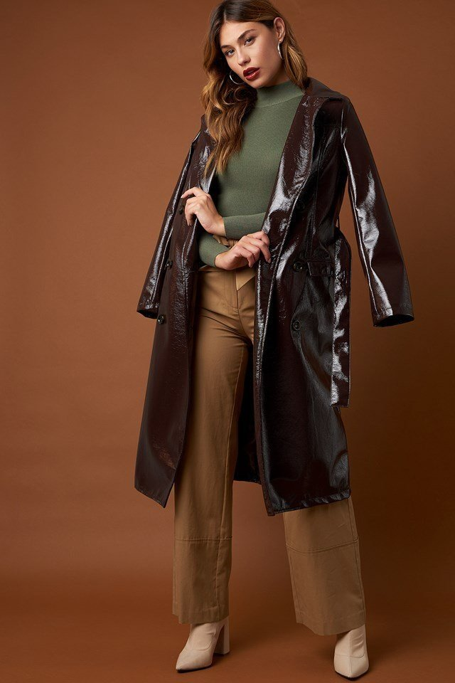 Fold Up Wide Leg Pants and Ribbed Polo Knitted Sweater