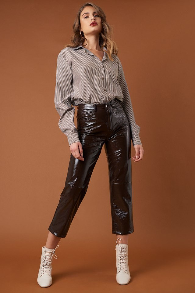 Brown Stripe Basic Shirt and Cropped Patent Pants