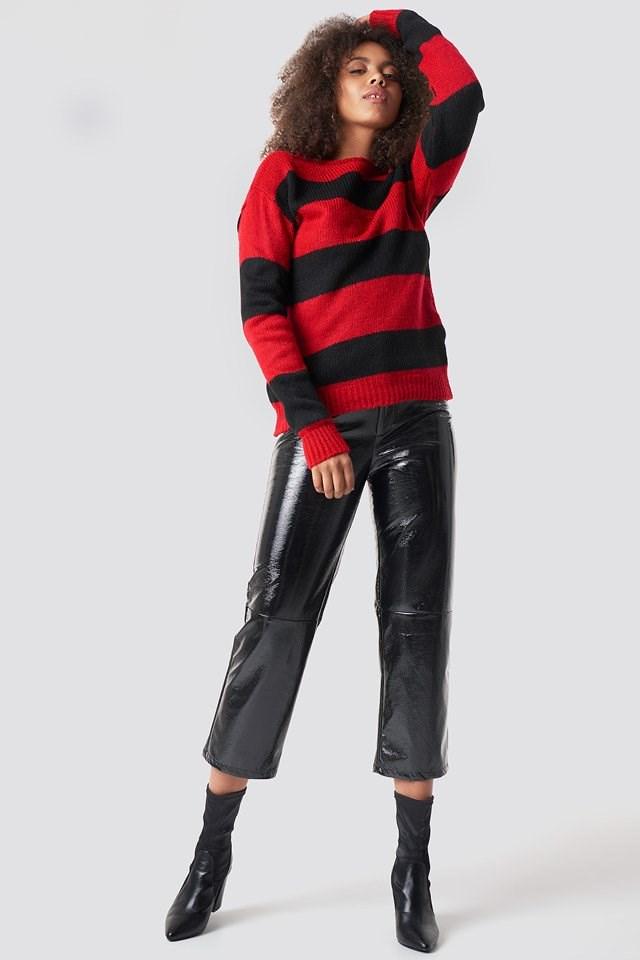 Block Stripe Wide Neck Sweater