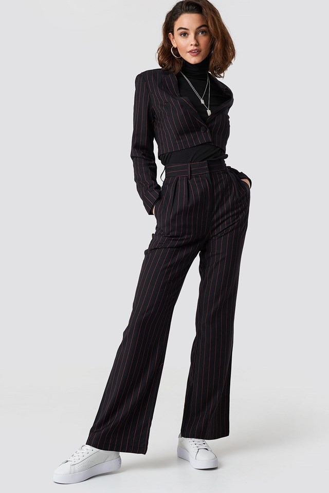 Pinstriped High Waist Flared Pants and Cropped Blazer