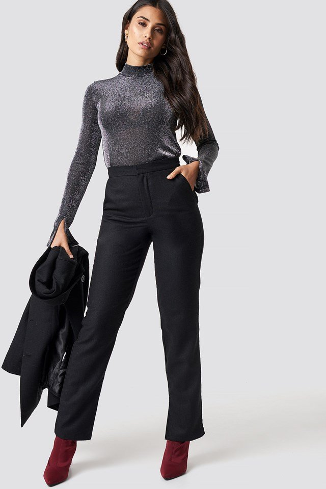 Belted Suit Jacket and Front Slit Suit Pants