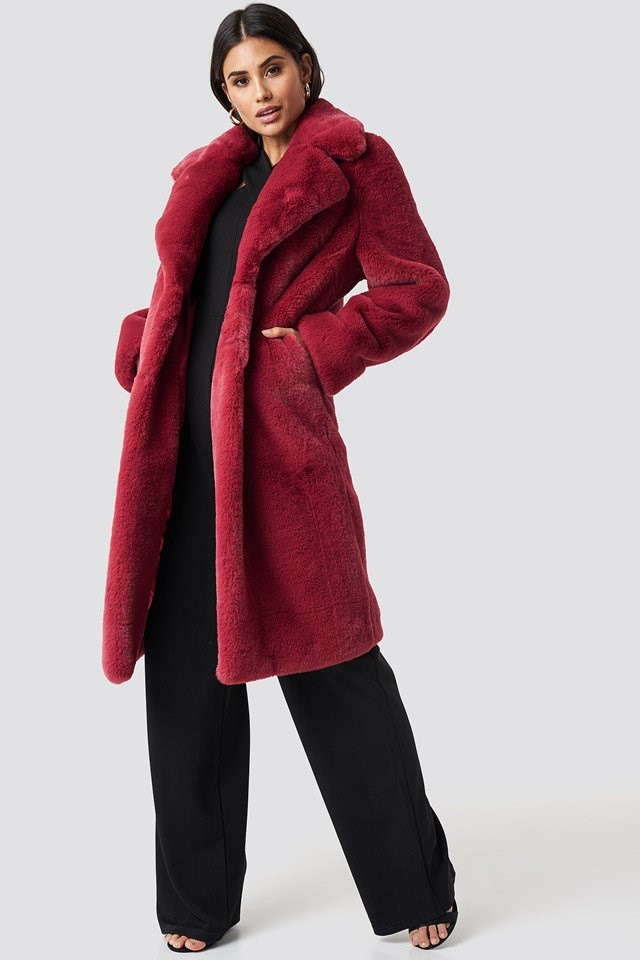 Faux Fur Maxi Coat with Wide Leg Cross Neck Jumpsuit