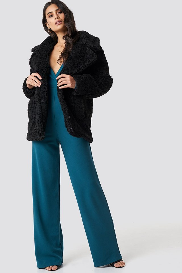 Long Sleeve Wrap Front Jumpsuit and Soft Teddy Jacket