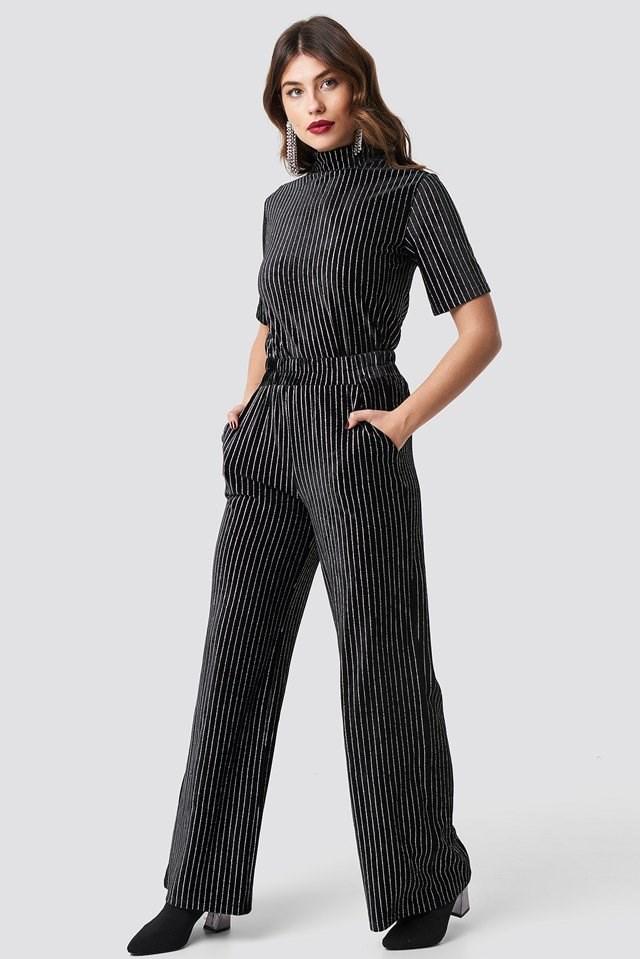 Striped Glittery Velvet Top Black Outfit