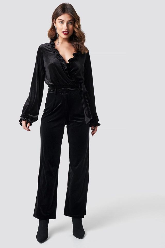 Velvet Frill Overlap Top Outfit