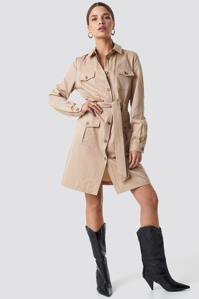 Pocket Detail Shirt Dress Beige Outfit