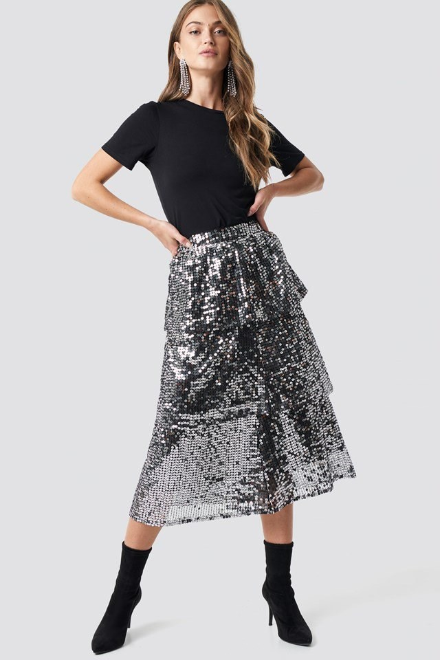Flounce Sequins Midi Skirt Silver Outfit