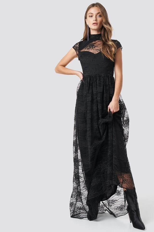 Lace High Neck Maxi Dress Black Outfit