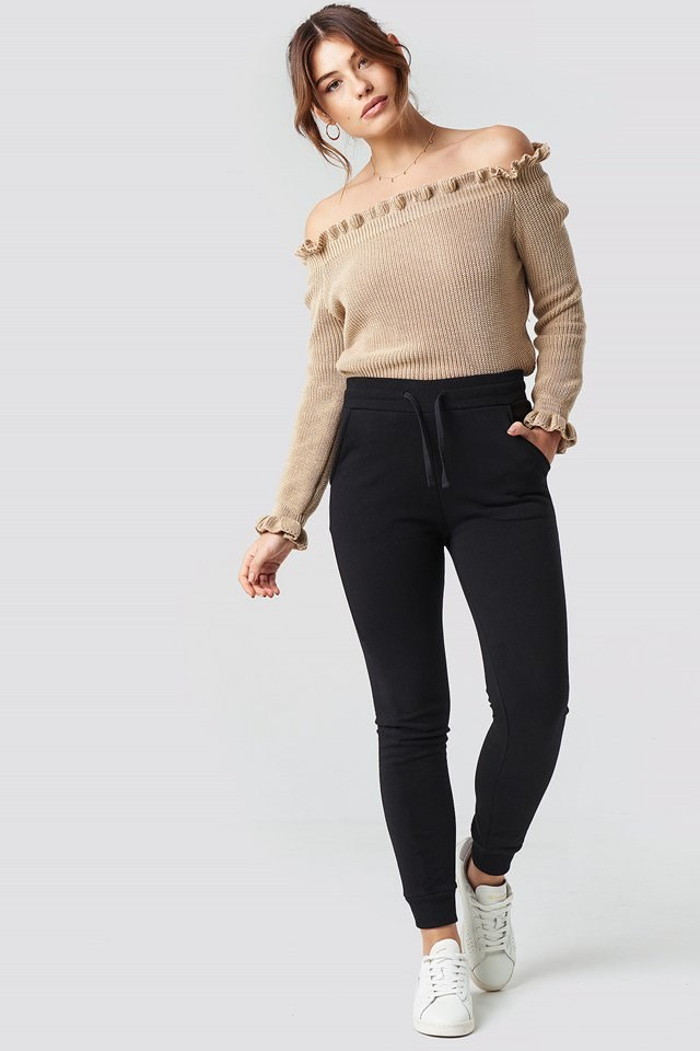Ruffle Off Shoulder Knitted Sweater Outfit