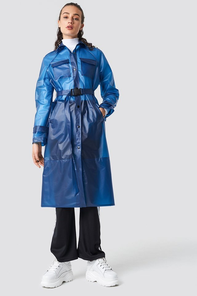 Trendy transparent, blue rain coat outfit