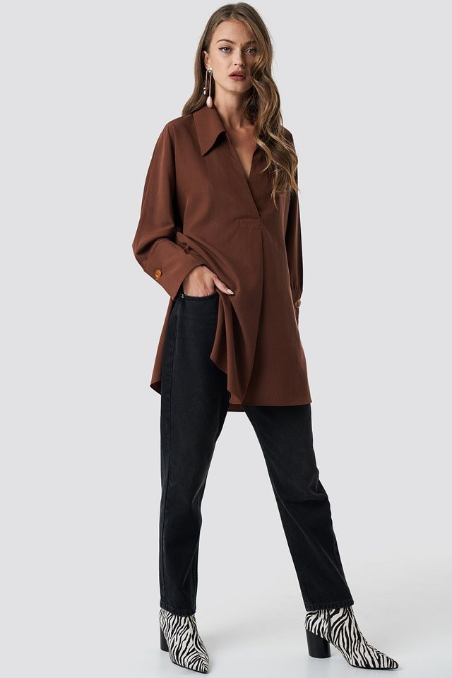 Classy Coll Shirt Terra outfit from Mango