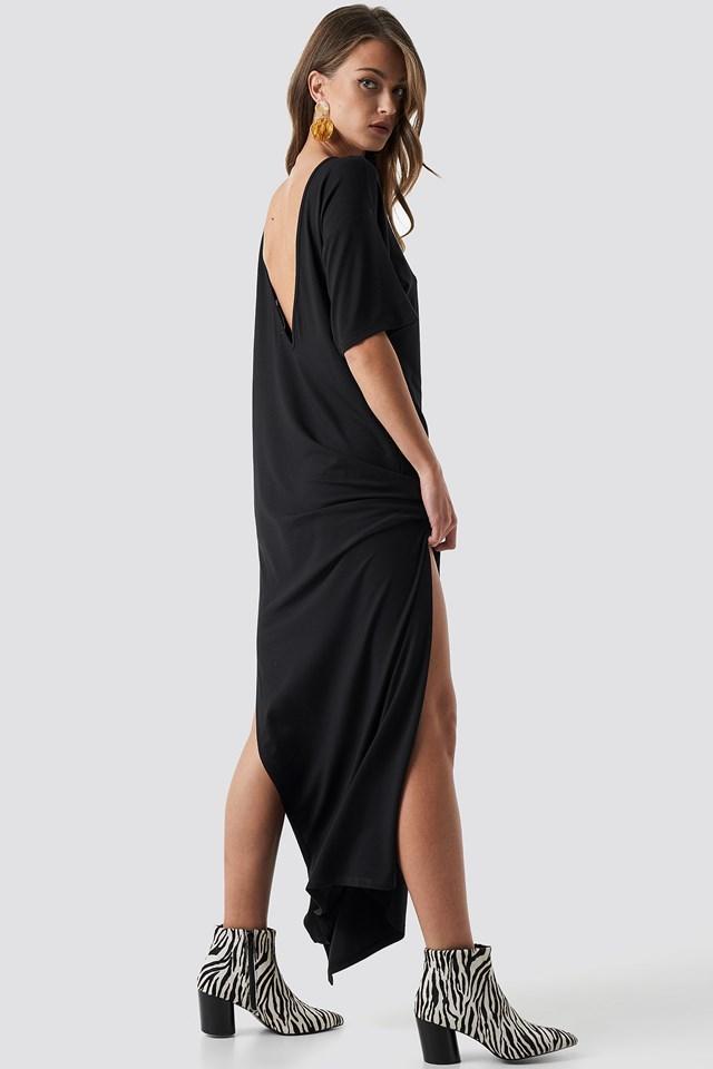 Stylish deep back oversize dress outfit