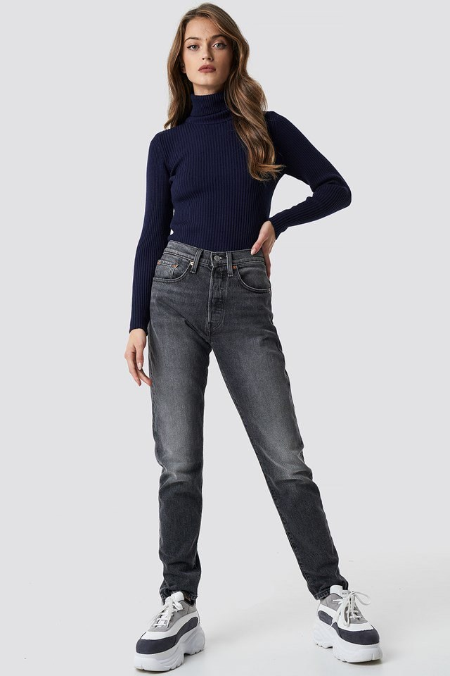 Classic knitted turtleneck outfit