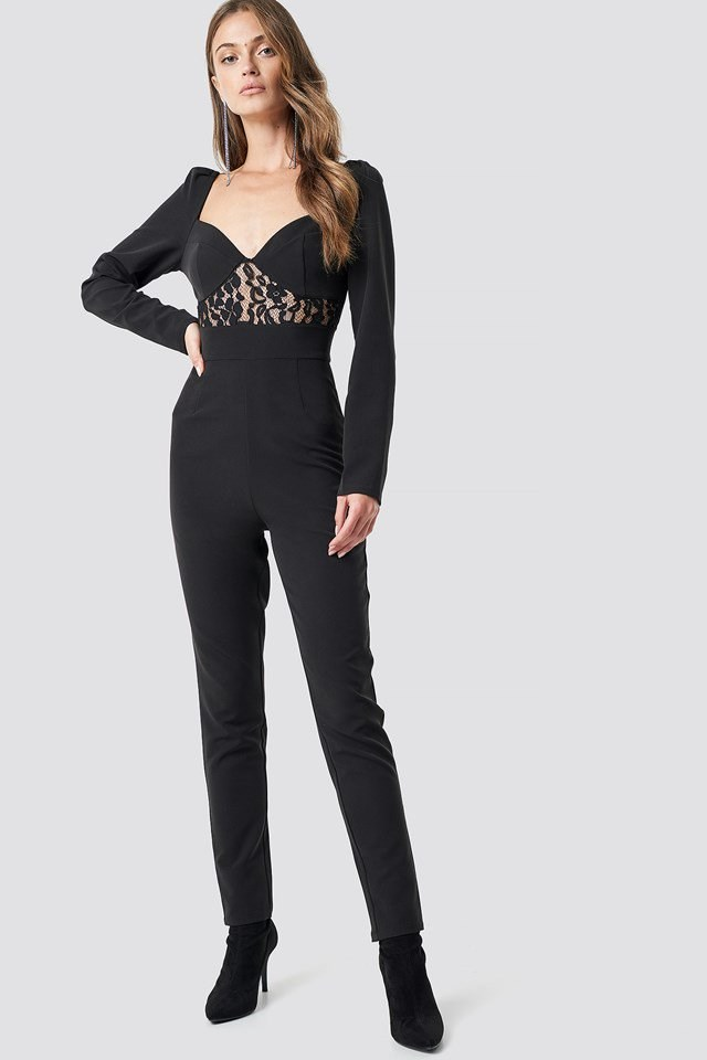 Lace insert LS jumpsuit party outfit