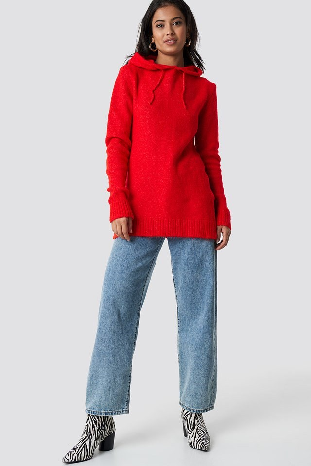 Red, hooded slit knit outfit