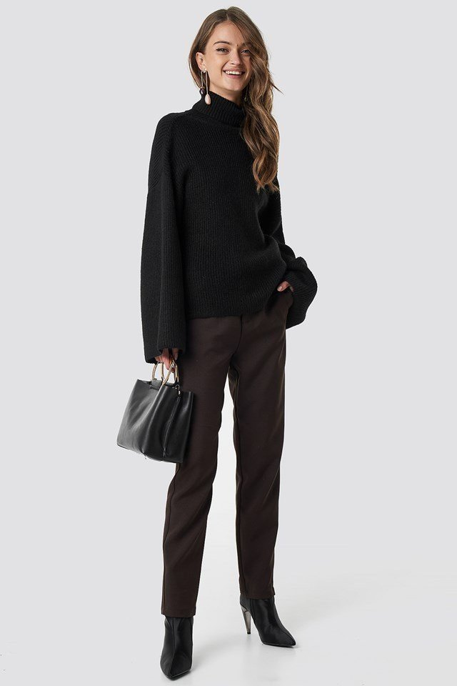 Black open back overlap sweater outfit