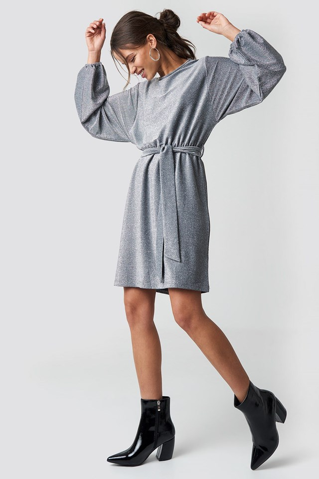 Mini Ballon Sleeve Dress Silver Outfit