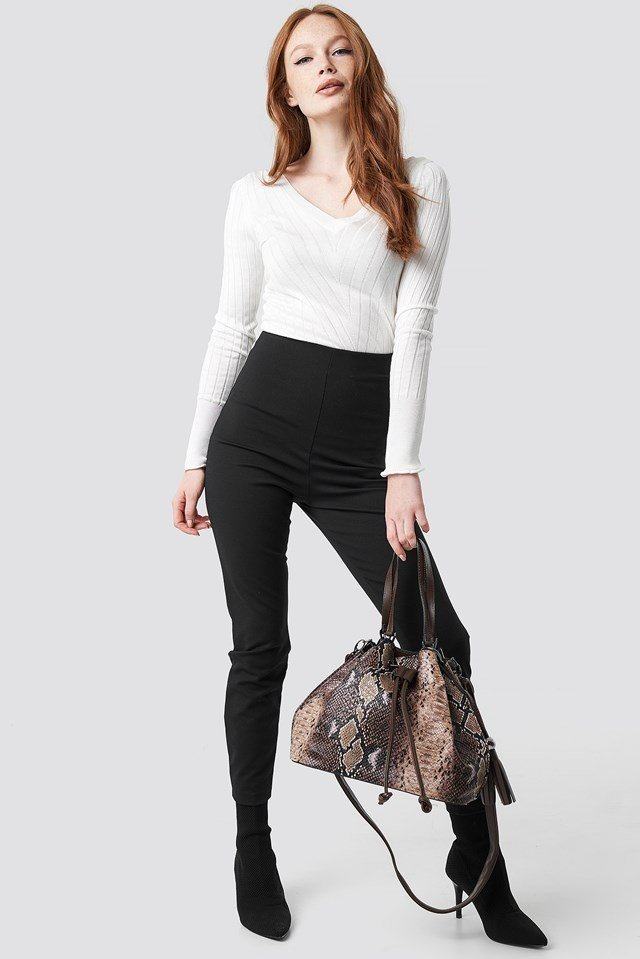 V-Neck Knitted Jumper Outfit