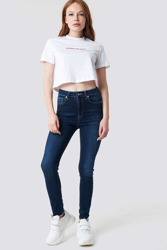 Croppped Institutional Flock Box Tee White Outfit