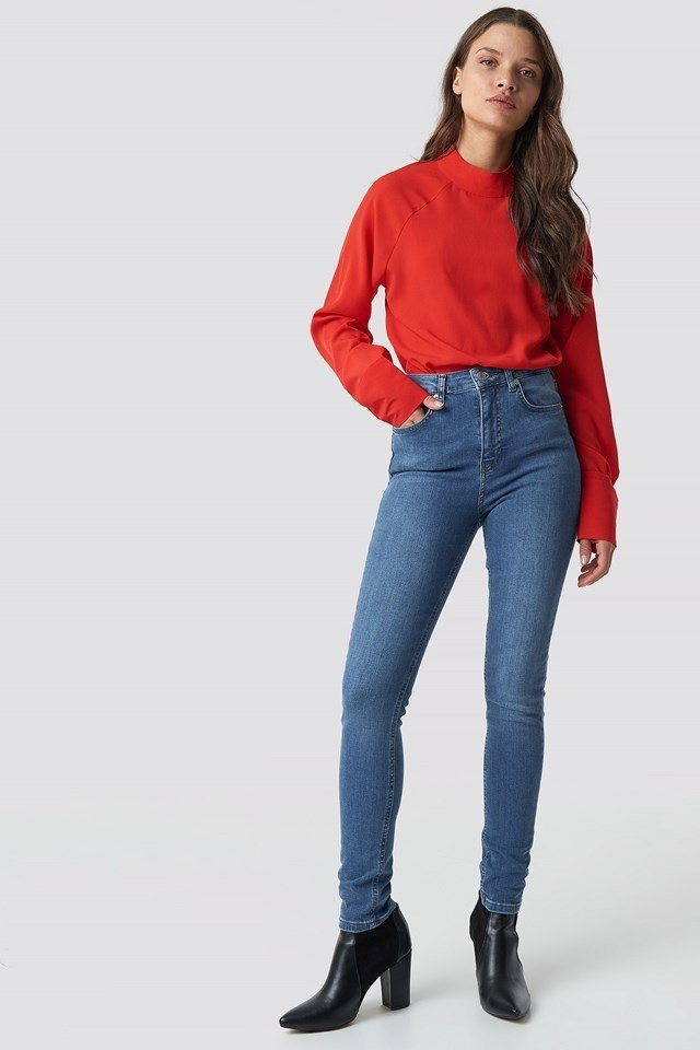 Red Shirt and Jeans Outfit
