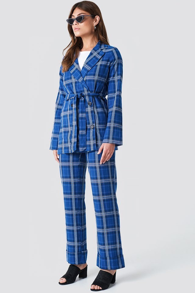 Belted Checked Suit