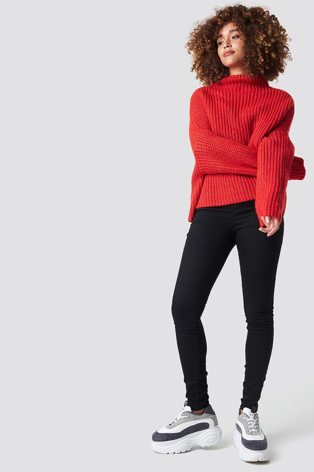 Red Knitted Sweater Outfit