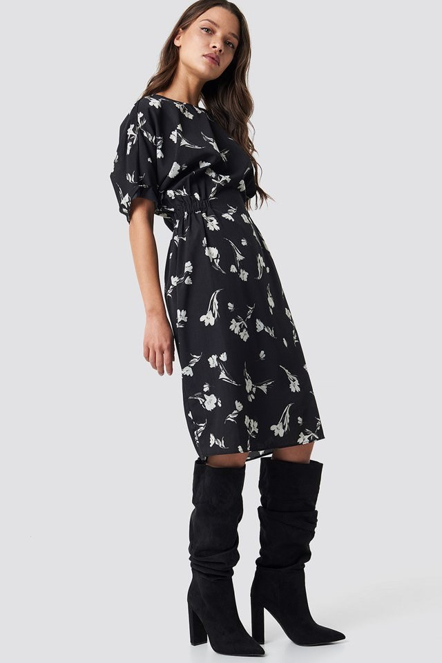 Flower Printed Dress Outfit