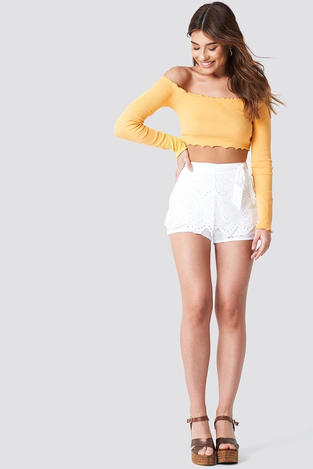 Off Shoulder Long Sleeve Top with Shorts