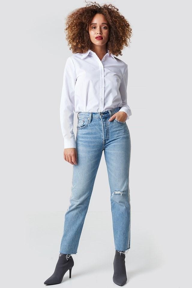 Blue 501 Crop Jeans.