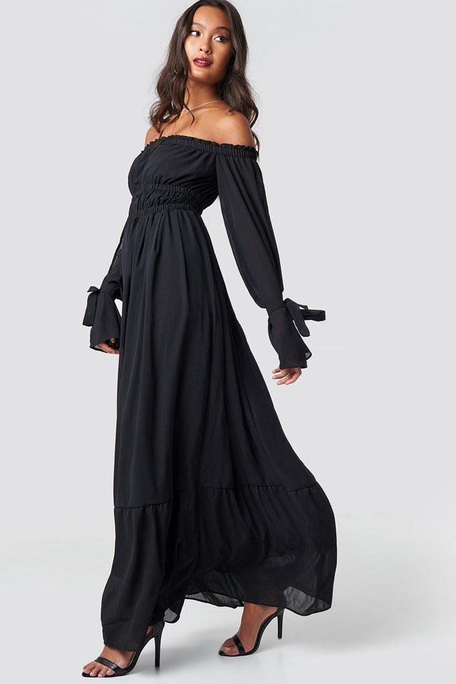 Off Shoulder Flared Maxi Dress Black Na Kd
