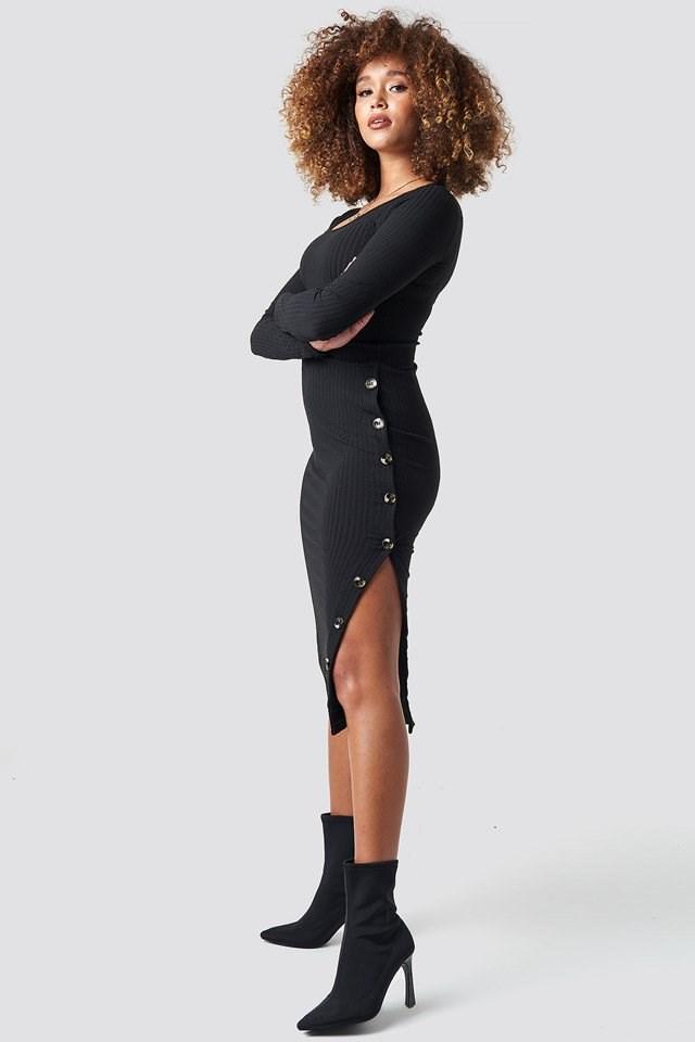 Black Ribbed Dress.