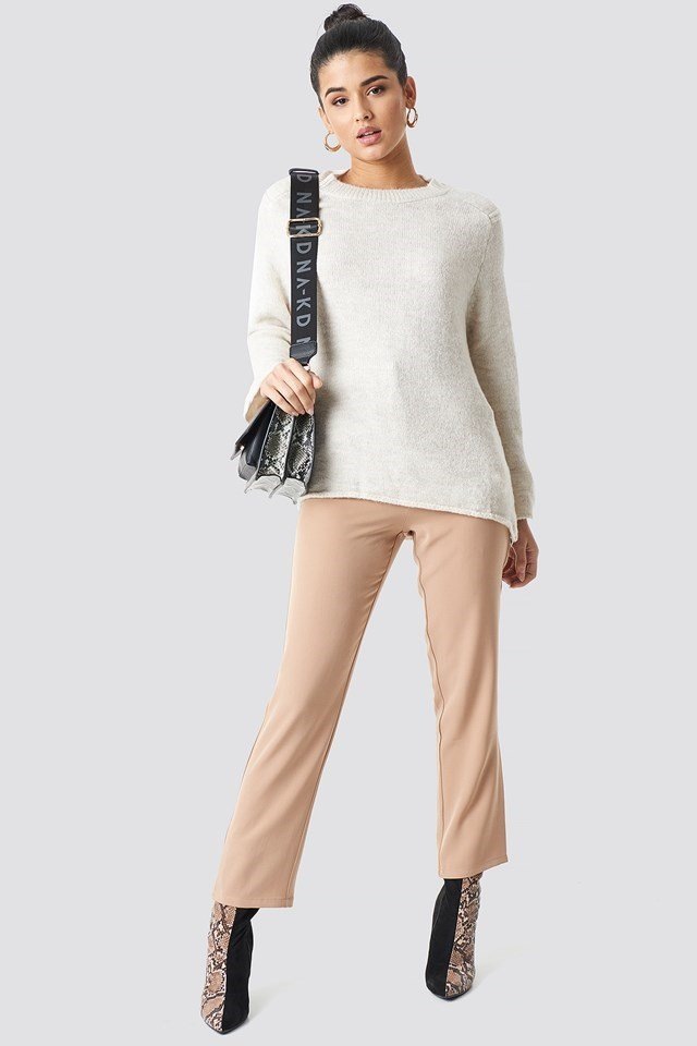 Beige Wide Sleeve Sweater.