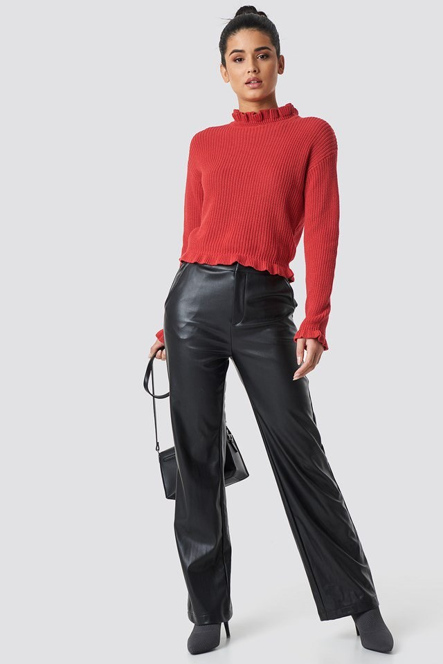 Red Cropped Knit Outfit