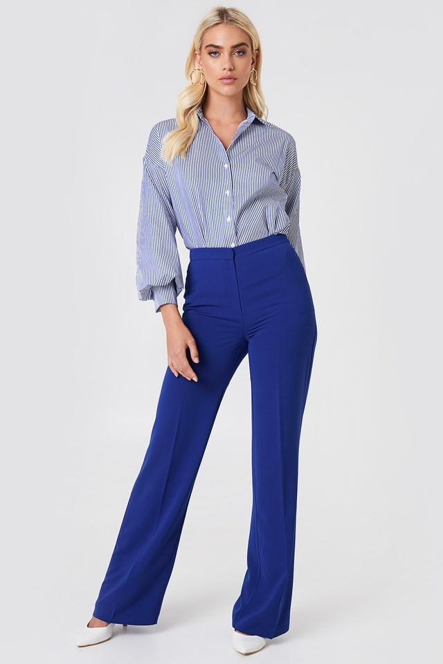 Striped Shirt with Wide Leg Pants