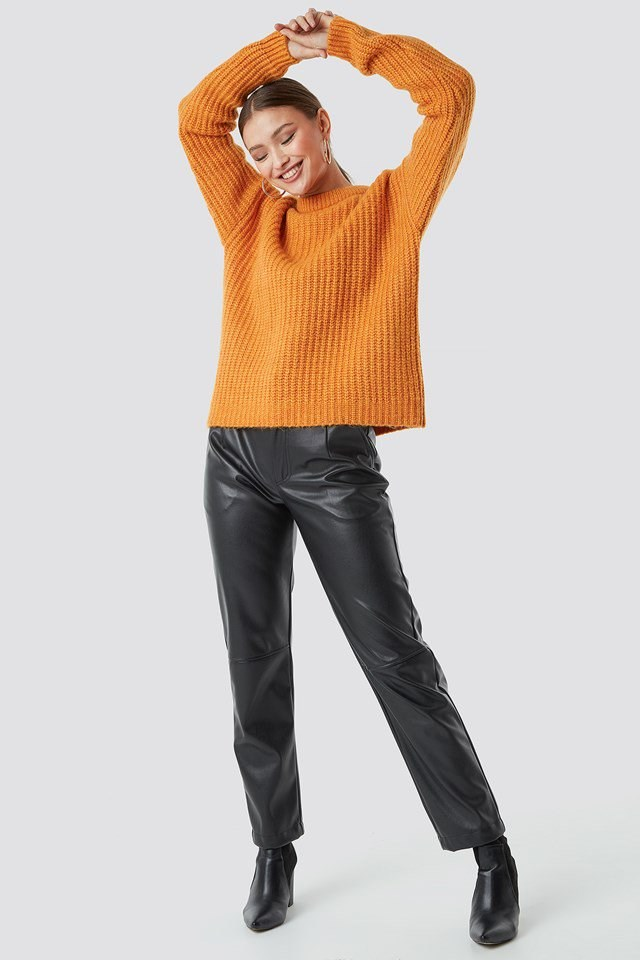 Orange Knitted Sweater Outfit