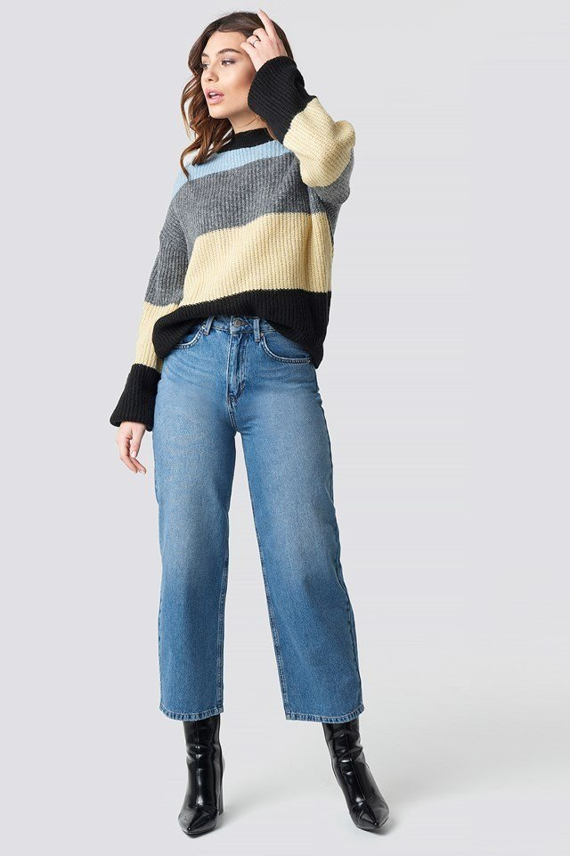 Blue Striped Knitted Sweater.