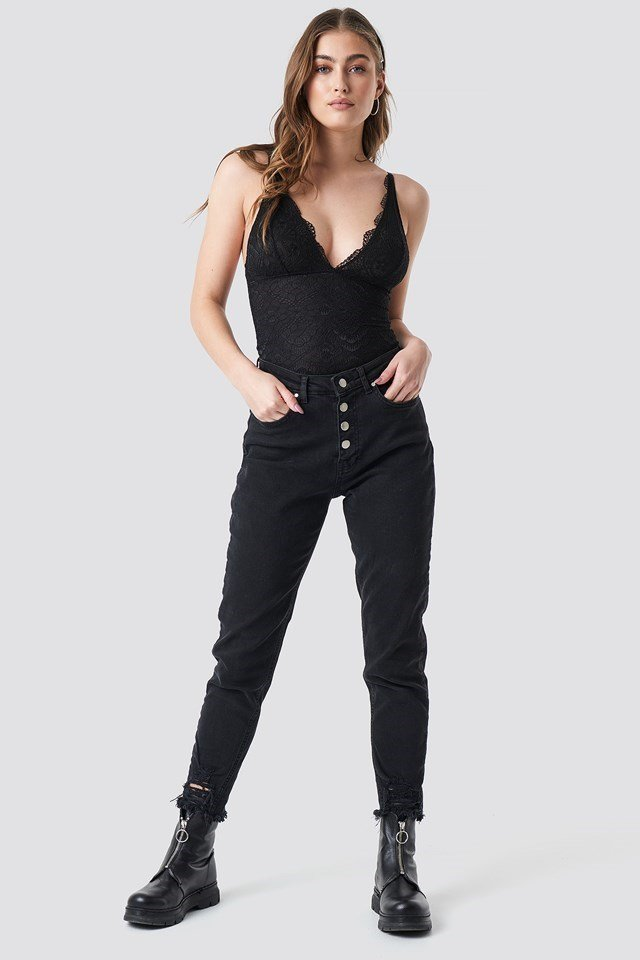 Front Button Jeans Outfit