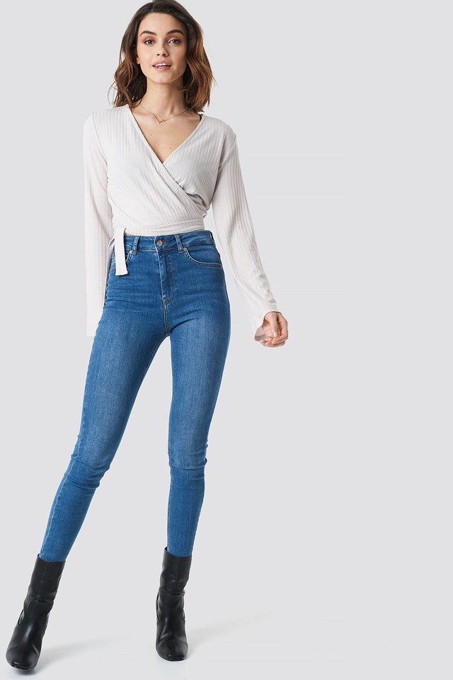 Ribbed Wrap Tie Top Outfit