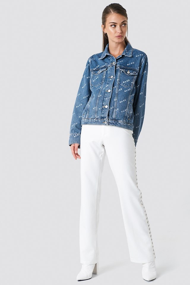 Denim Jacket with White Pants