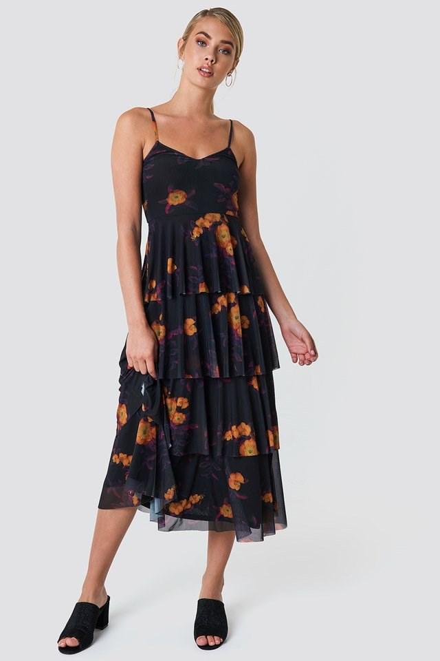 Classic Floral Midi Dress
