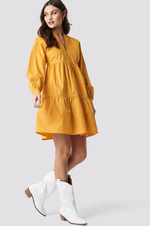 V-Neck Volume Sleeve Dress