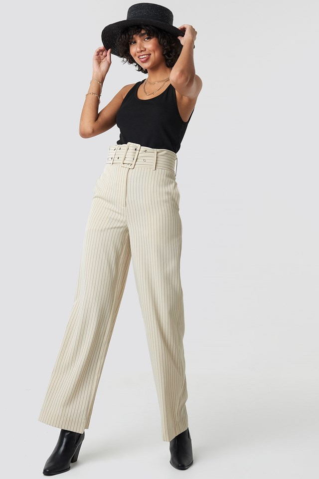 Pinstriped Wide Belted Pants Outfit
