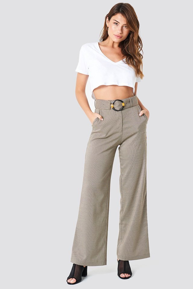 Checked Pants with Croped Top