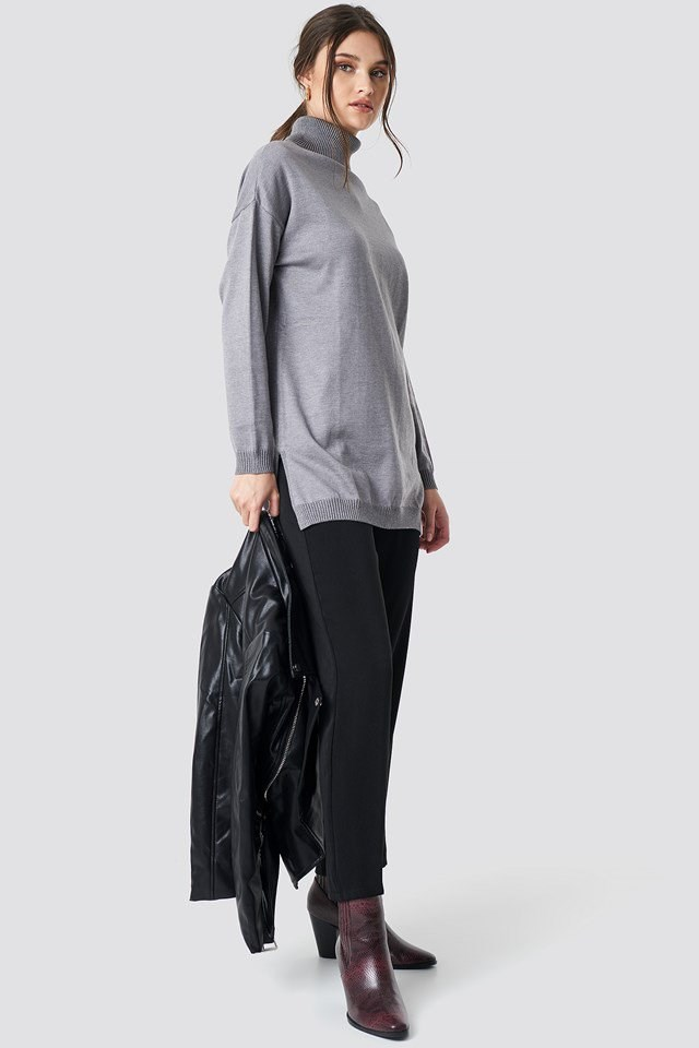 Turtle Neck Long Sweater Grey Oufit
