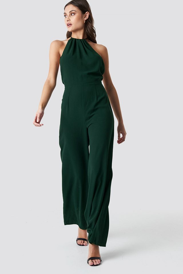 Open Back Halterneck Jumpsuit Green Outfit