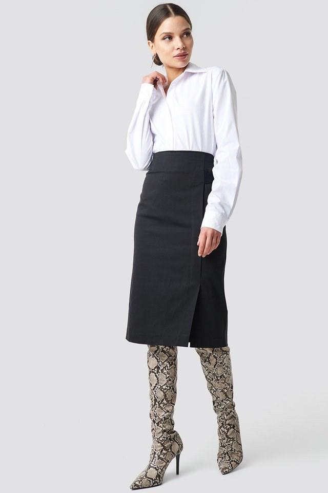 Binding Detail Midi Skirt Black Outfit